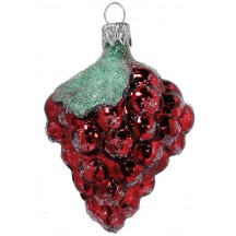 "Dark Red Grapes Blown Glass Ornament ~ Czech Republic ~ 3-1/4"" long"