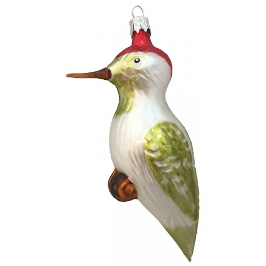 "White Woodpecker Blown Glass Ornament ~ Czech Republic ~ 5-1/4"" tall"