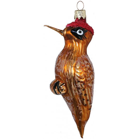 """Woodpecker Blown Glass Ornament ~ Czech Republic ~ 5-1/4"""" tall"""