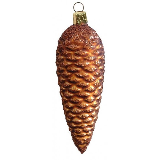 "Long Matte Brown Glittered Pine Cone ~ Czech Republic ~ 5-1/2"" long"