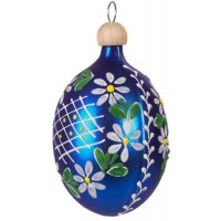 "Matte Blue Egg with Flowers Blown Glass Ornament ~ Czech Republic ~ 2-1/2"" tall"