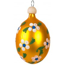 "Golden Yellow Egg with Flowers Blown Glass Ornament ~ Czech Republic ~ 2-1/2"" tall"