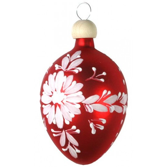 "Folkloric Red Egg with Flowers Blown Glass Ornament ~ Czech Republic ~ 2-1/2"" tall"