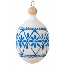 "Folkloric Blue and White Flowers Blown Glass Egg Ornament ~ Czech Republic ~ 2-1/2"" tall"