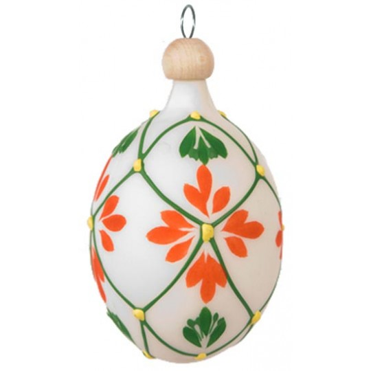"Folkloric White and Orange Floral Blown Glass Egg Ornament ~ Czech Republic ~ 2-1/2"" tall"