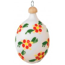 "White and Orange Floral Blown Glass Egg Ornament ~ Czech Republic ~ 2-1/2"" tall"