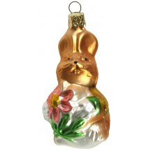 "Easter Bunny with Pink Flower Blown Glass Ornament ~ Czech Republic ~ 3"" tall"