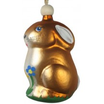 "Easter Bunny with Flowers Blown Glass Ornament ~ Czech Republic ~ 3-1/4"" tall"