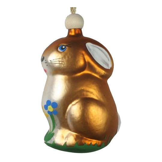 """Easter Bunny with Flowers Blown Glass Ornament ~ Czech Republic ~ 3-1/4"""" tall"""