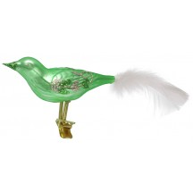 "Large Matte Green Blown Glass Bird ~ Czech Republic ~ 7"" long"