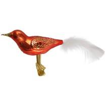 "Large Matte Orange Blown Glass Bird ~ Czech Republic ~ 7"" long"