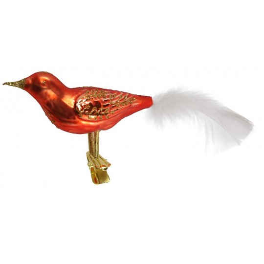 "Large Matte Orange Blown Glass Bird ~ Czech Republic ~ 7"" long"