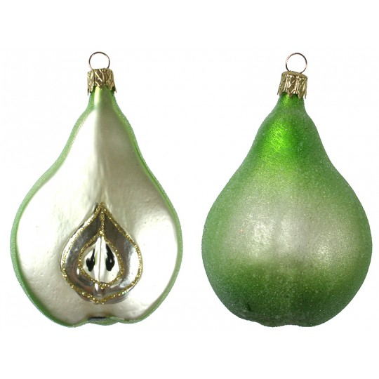 "Sugared Green Pear Christmas Ornament ~ Czech Republic ~ 3-3/8"" long"