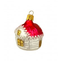 "Small Red Roof Cottage Christmas Ornament ~ Czech Republic ~ 2"" tall"