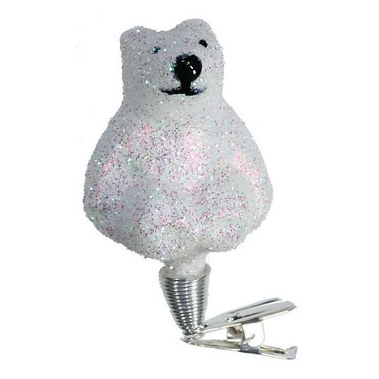 "Snowy Clipping Polar Bear Blown Glass Ornament ~ Czech Republic ~ 2-1/2"" tall"