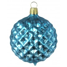 Matte Blue Blown Glass Geometric Ball Ornament ~ Germany ~ 3""