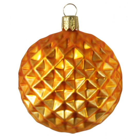 Matte Amber Blown Glass Geometric Ball Ornament ~ Germany ~ 3""