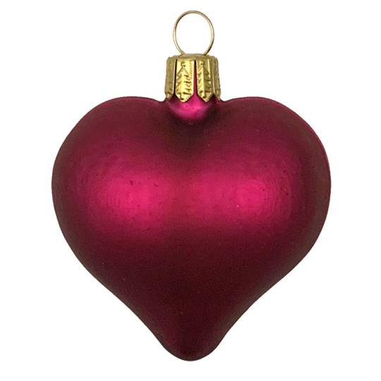 "Matte Burgundy Blown Glass Heart Ornament ~ Germany ~ 2-1/2"" long"