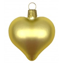 "Matte Yellow Blown Glass Heart Ornament ~ Germany ~ 2-1/2"" long"
