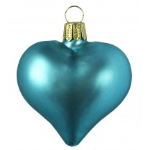 "Matte Blue Blown Glass Heart Ornament ~ Germany ~ 2-1/2"" long"