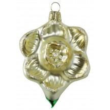"Beautiful Blown Glass Pale Yellow Daffodil Ornament ~ Germany ~ 4"" tall"