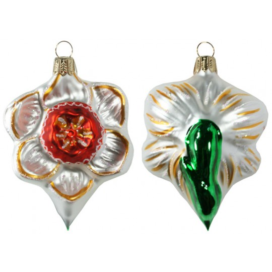 "Beautiful Blown Glass Matte White and Orange Daffodil Ornament ~ Germany ~ 4"" tall"