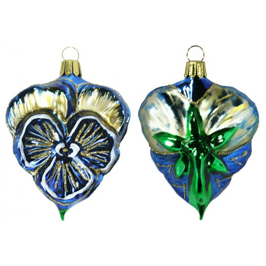 "Beautiful Blown Glass Blue Pansy Ornament ~ Germany ~ 3-1/2"" tall"