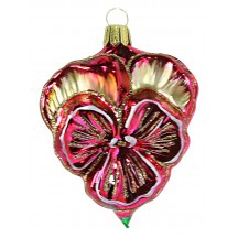 "Beautiful Blown Glass Fuchsia Pansy Ornament ~ Germany ~ 3-1/2"" tall"