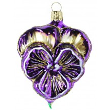 "Beautiful Blown Glass Violet Purple Pansy Ornament ~ Germany ~ 3-1/2"" tall"