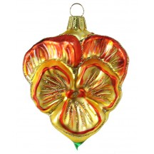 "Beautiful Blown Glass Yellow and Orange Pansy Ornament ~ Germany ~ 3-1/2"" tall"