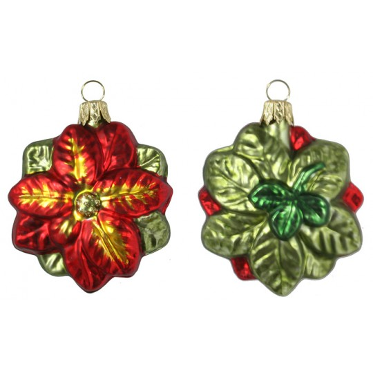 "Blown Glass Poinsettia Ornament ~ Poland ~ 2-1/2"" long"