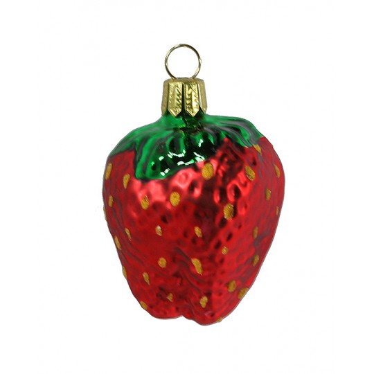 "Matte Ruby Red Strawberry Ornament ~ Germany ~ 2"" long"
