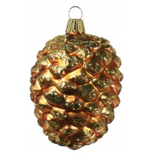 "Bulbous Brown Blown Glass Pine Cone Ornament ~ Germany ~ 4-1/2"" long"