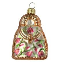 "Matte Champagne Handbag Blown Glass Ornament ~ Poland ~ 2-3/4"" tall"