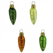 "Set of 4 Petite Blown Glass Pine Cone Ornaments in Greens ~ Germany ~ 1-3/4"" long"