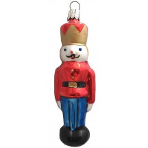 "Nutcracker with Red Jacket Blown Glass Ornament ~ Germany ~ 4-1/2"" tall"
