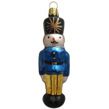 "Nutcracker with Blue Jacket Blown Glass Ornament ~ Germany ~ 4-1/2"" tall"