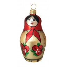 "Red Matroschka Doll Blown Glass Ornament ~ Germany ~ 3"" tall"