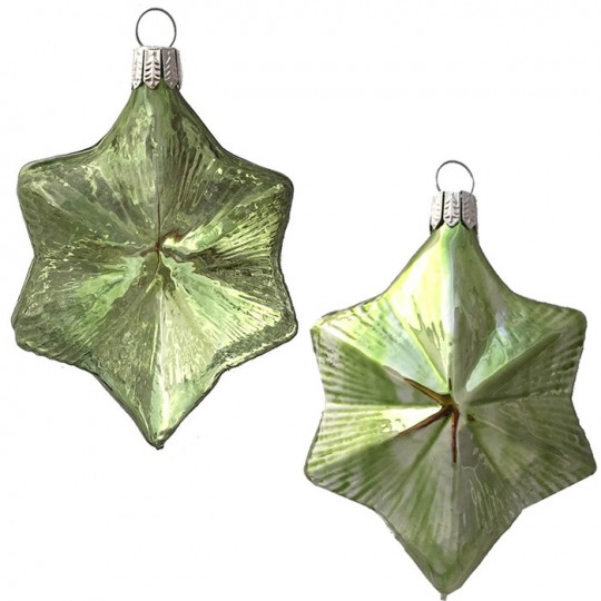 """Pale Green Blown Glass Large Star Ornament ~ Germany ~ 3-3/4"""" ~ Half Clear/ Half Silvered"""