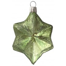 "Pale Green Blown Glass Large Star Ornament ~ Germany ~ 3-3/4"" ~ Half Clear/ Half Silvered"