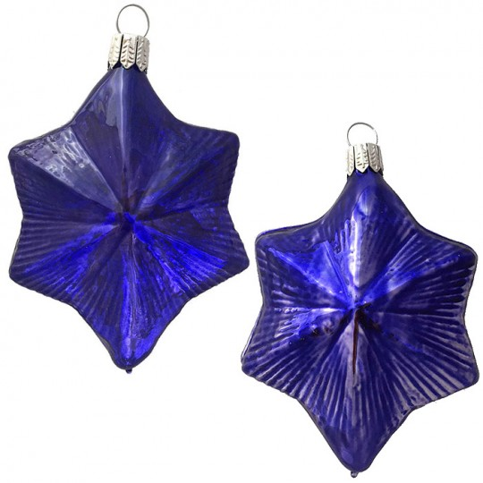 "Indigo Blue Blown Glass Large Star Ornament ~ Germany ~ 3-3/4"" ~ Half Clear/ Half Silvered"