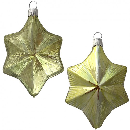 "Lemon Lime Blown Glass Large Star Ornament ~ Germany ~ 3-3/4"" ~ Half Clear/ Half Silvered"