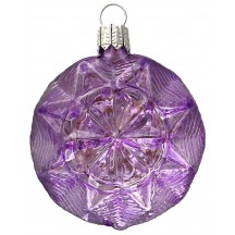 "Pale Lavender Blown Glass Geometric Star Ornament ~ Germany ~ 2-5/8"" ~ Half Clear/ Half Silvered"