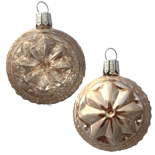 "Champagne Blown Glass Geometric Star Ball Ornament ~ Germany ~ 2-1/4"" ~ Half Clear/ Half Silvered"