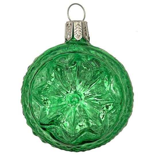 "Green Blown Glass Geometric Star Ball Ornament ~ Germany ~ 2-1/4"" ~ Half Clear/ Half Silvered"
