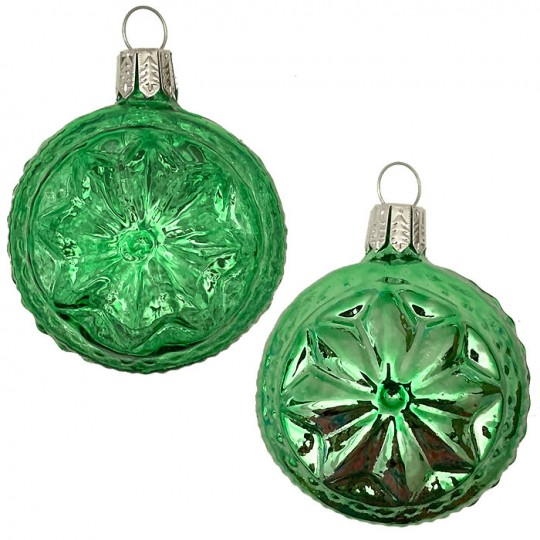 "Green Blown Glass Geometric Star Ball Ornament ~ Germany ~ 2-1/4"" ~ Half Clear/ Half Silvered"