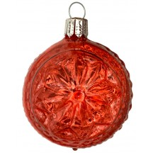"Red Blown Glass Geometric Star Ball Ornament ~ Germany ~ 2-1/4"" ~ Half Clear/ Half Silvered"