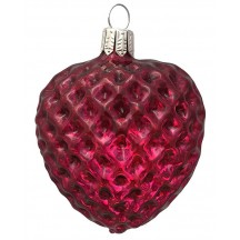 "Burgundy Blown Glass Quilted Heart Ornament ~ Germany ~ 2-5/8"" ~ Half Clear/ Half Silvered"