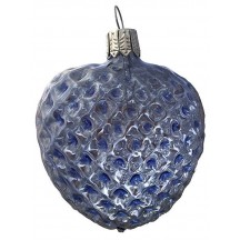 """Light Blue Blown Glass Quilted Heart Ornament ~ Germany ~ 2-5/8"""" ~ Half Clear/ Half Silvered"""