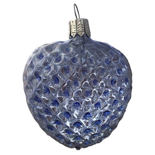 "Light Blue Blown Glass Quilted Heart Ornament ~ Germany ~ 2-5/8"" ~ Half Clear/ Half Silvered"